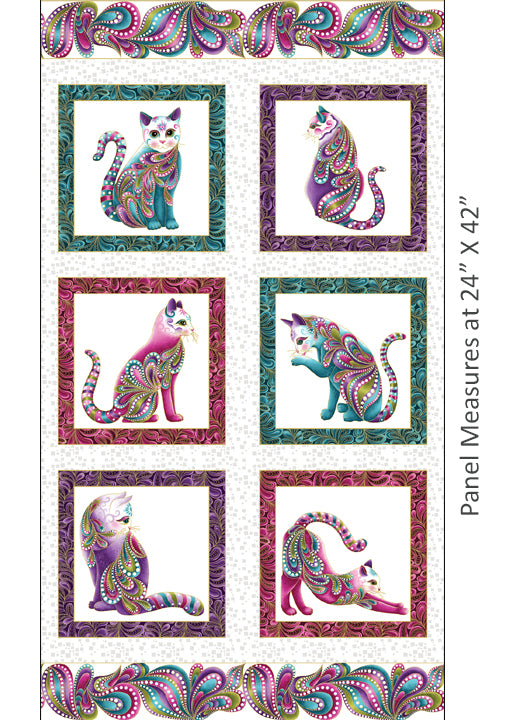 Benartex Catitude Cats Panel White Metallic