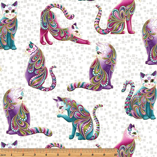 Benartex Catitude White Cats Metallic