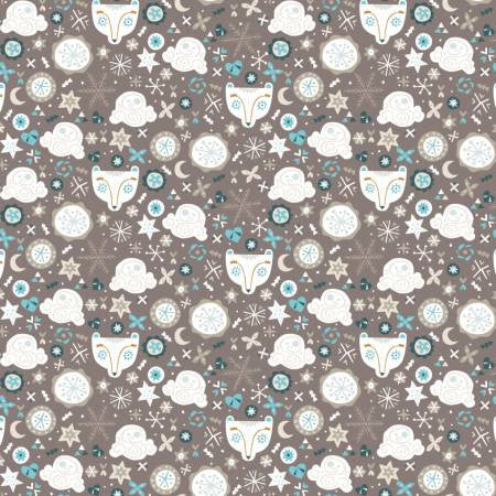 Camelot Snowfall Taupe Bear Faces