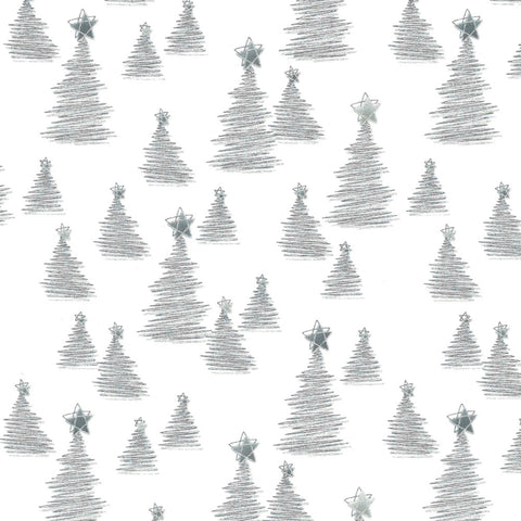 Stof Christmas Wonders Trees White Silver