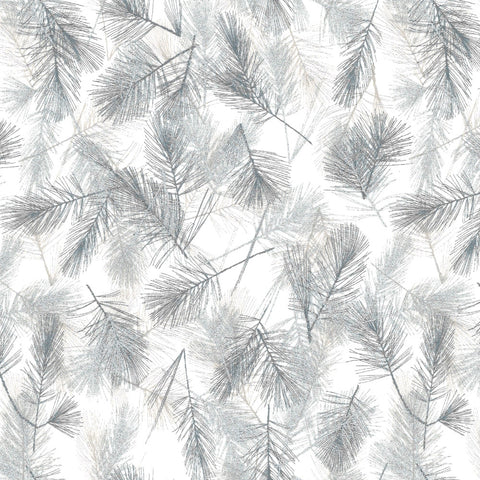 Stof Christmas Wonders Ferns White Silver