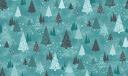{New Arrival} Stof It's A Snowflake Turquoise Trees Metallic