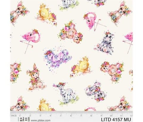 {New Arrival} P &  B Textiles Little Darlings Scattered Animals