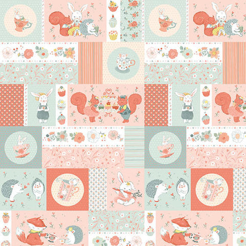 Studio E Designs Woodland Tea Time Patchwork Critters Aqua/Pink