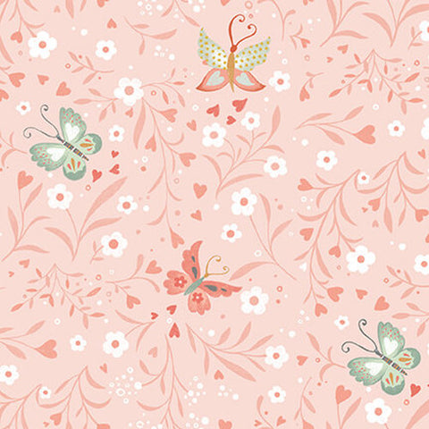 Studio E Designs Woodland Tea Time Floral Butterflies Pink