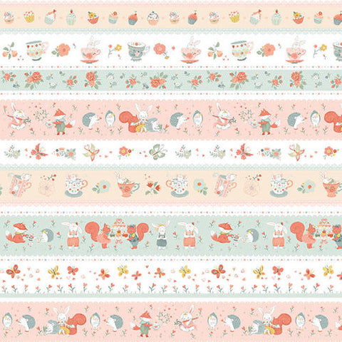 Studio E Designs Woodland Tea Time Stripe Aqua/Pink