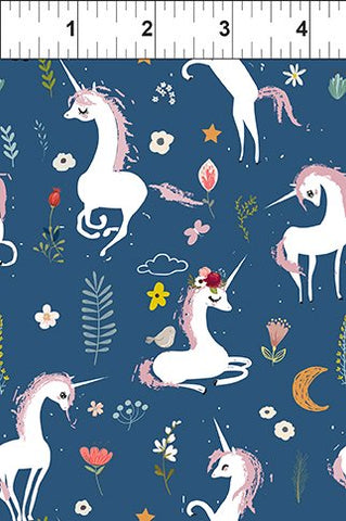 In The Beginning Fabrics Mermaid & Unicorns- Unicorns Navy