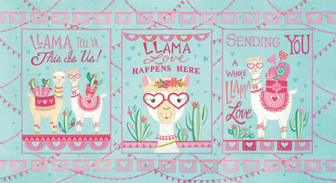 Moda Llama Love Panel Mint