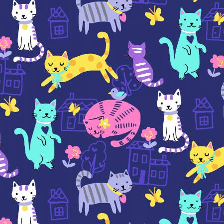 Windham One of a Kind Multi Home Sweet Meow Digitally Printed