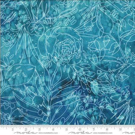 {New Arrival} Moda Moody Bloom Her Garden Digital Teal