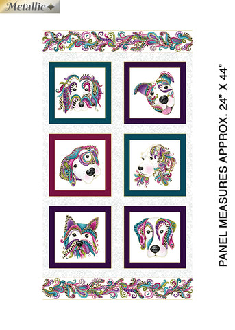 Benartex Dog On It Panel White/Multi Metallic