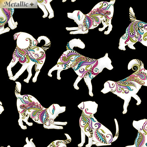 Benartex Dog On It Hot Diggity Small Black Multi Metallic