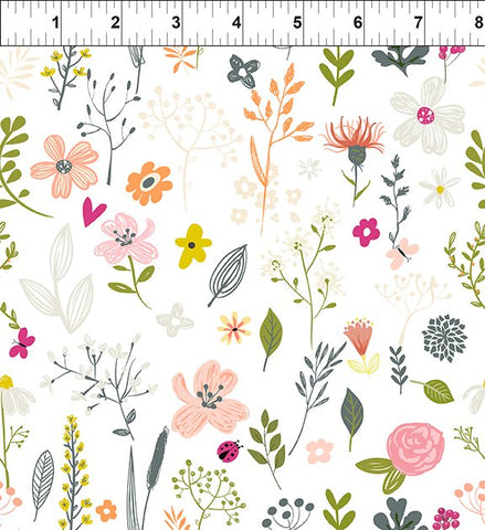 In The Beginning Fabrics Mermaid & Unicorns Flower Toss White