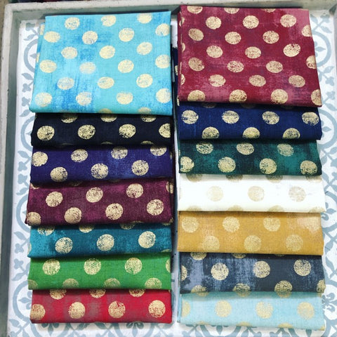 {New Arrival} Moda Grunge Hits the Spot Metallics Quarter Bundle x 14 Fat Quarters