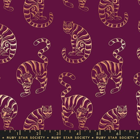 {New Arrival} Moda Ruby Star Society Airflow Tiger In The Taiga Metallic Purple Velvet