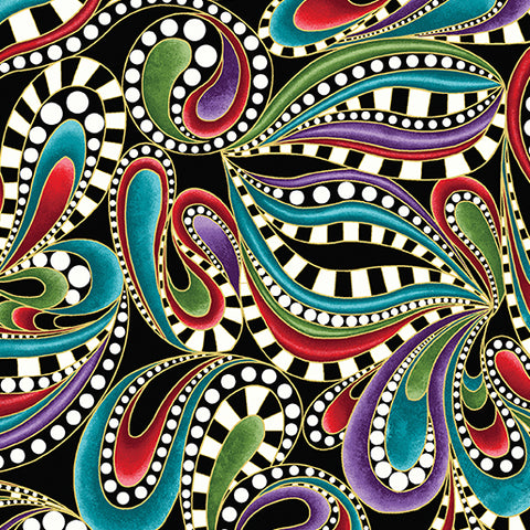 Benartex Cat-I-tude Christmas Paisley Swirl Black/Multi