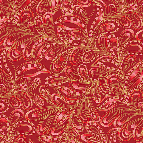 Benartex Cat-I-tude Christmas Featherly Paisley Rouge