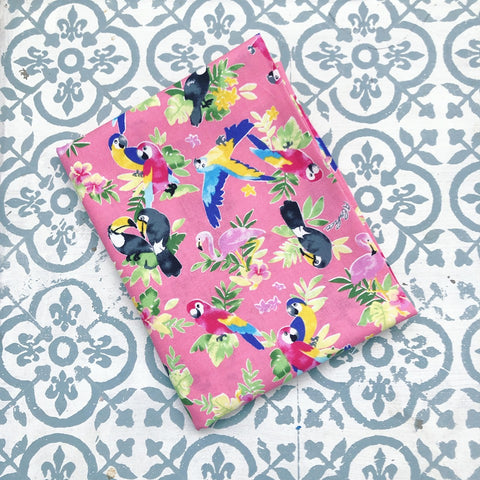 Japanese Prints Tropical Birds Pink