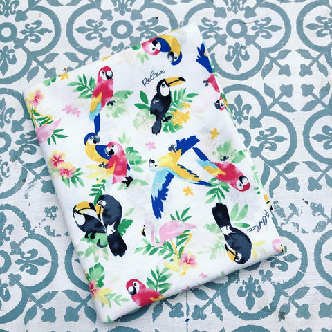 Japanese Prints Tropical Birds White