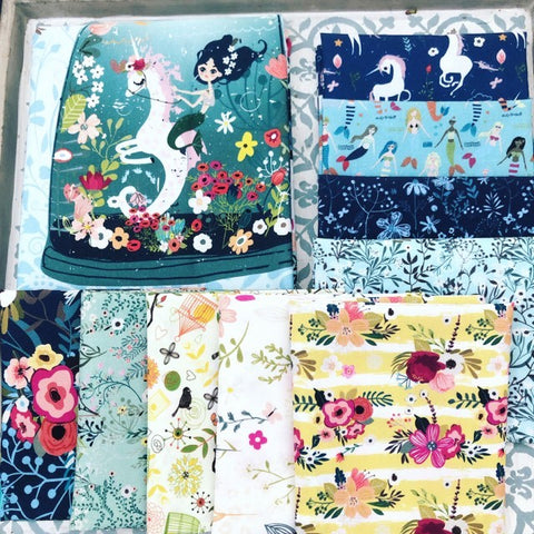 In the Beginning Mermaid & Unicorns Fat Quarter Bundles x 9 Pieces + 1 Panel