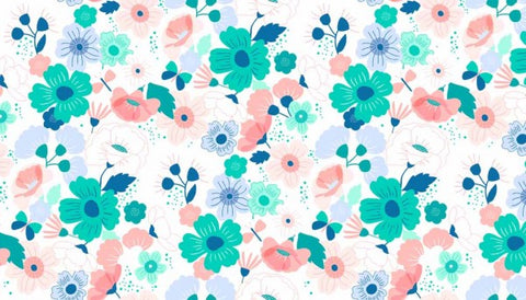 Makower Floral Splendor Main Aqua