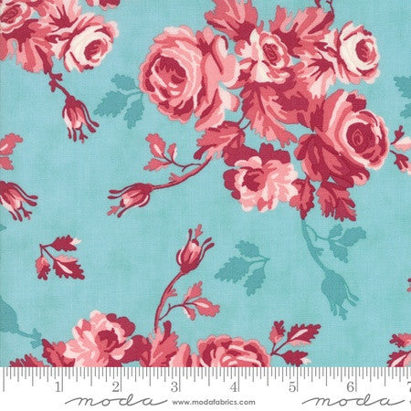 Moda Howdy Stacy Iest Hsu Floral Rose in Aqua