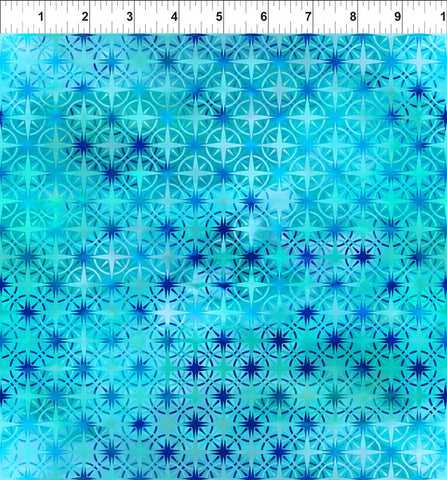 In The Beginning Fabrics Calypso Compass Turquoise