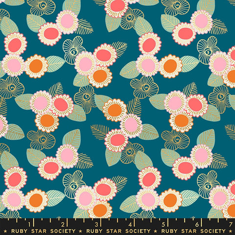 {Pre-Order April} Moda Ruby Star Society Purl Embroidered Floral Teal Metallic