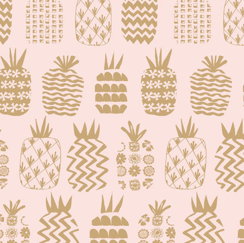 Dashwood Studios Ocean Drive Pineapples Pink Metallic Gold