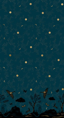 {New Arrival} Moda Ruby Star Society Tiger Fly Chrysalis Border Print Dark Teal Metallic