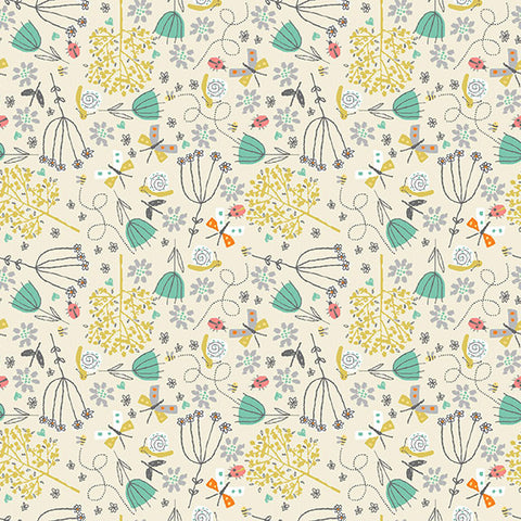 Makower A Walk in the Park Floral Grey