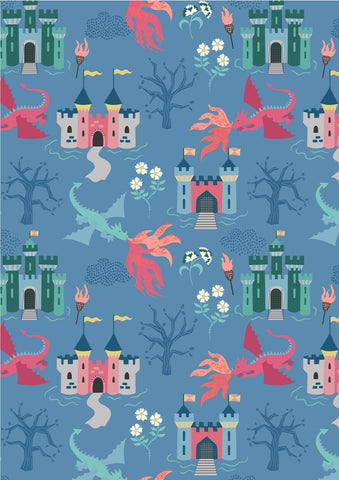 Lewis & Irene Dragons Dragon Castle on Light Blue