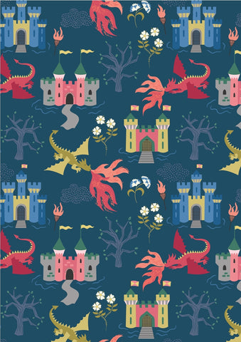 Lewis & Irene Dragons Dragon Castle on Dark Blue