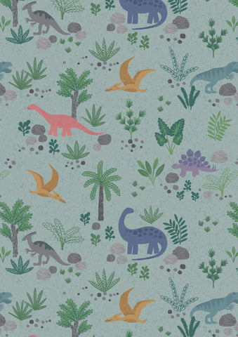 Lewis & Irene Kimmeridge Bay Land Dinos on Grey/Green