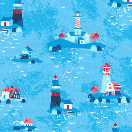 Robert Kaufman Seaside Treasures Blue Lighthouses