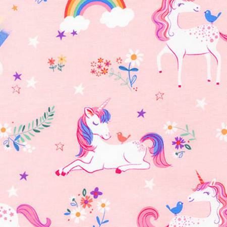 {Remnant 44cm} Robert Kaufman Happy Little Unicorns Pink Unicorns