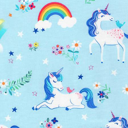 Robert Kaufman Happy Little Unicorns Blue Unicorns