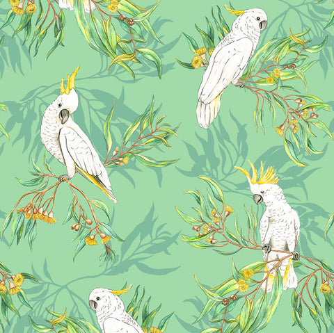 Michelle Holik Gumtree Friends Cockatoos on Green Allover