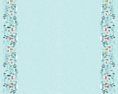 Lewis & Irene Snow Day Border Print Icy Blue Metallic