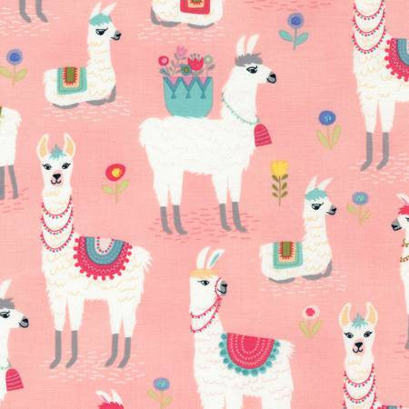 Timeless Treasures Alpaca Adventures Pink Alpaca