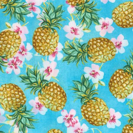 Timeless Treasures Oasis Blue Pineapple