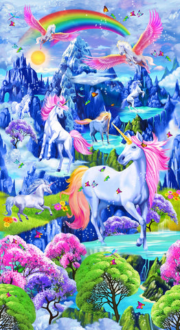 Timeless Treasures Bright Majestic Unicorns Panel
