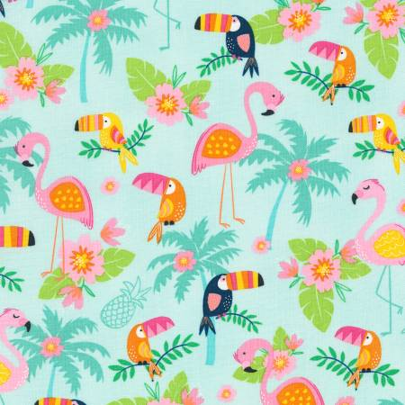 Timeless Treasures Summer Days Turquoise Flamingo & Toucan