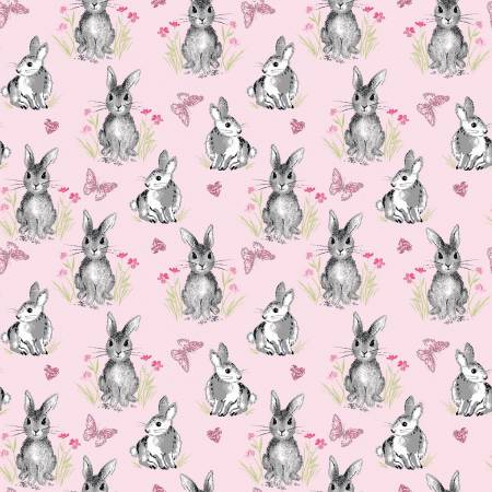 {Pre-Order February} Riley Blake Novelty Pretty Bunnies Pink