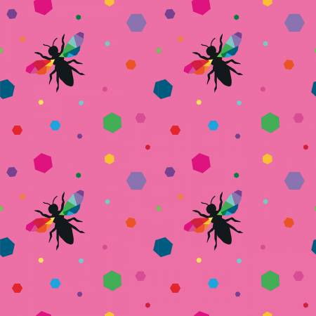 {New Arrival} Riley Blake Create Hexie Bees Pink