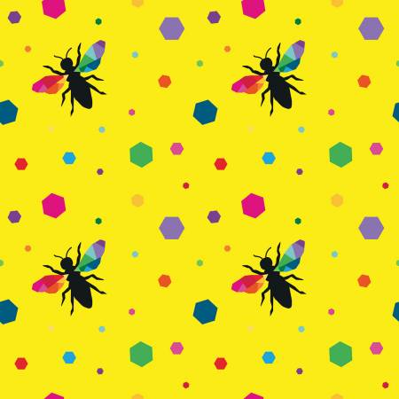 {New Arrival} Riley Blake Create Hexie Bees Yellow