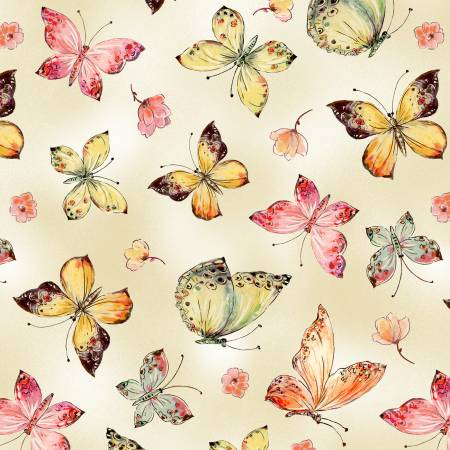 {Pre-Order July} Timeless Treasures Floral Study Cream Butterflies Digitally Printed