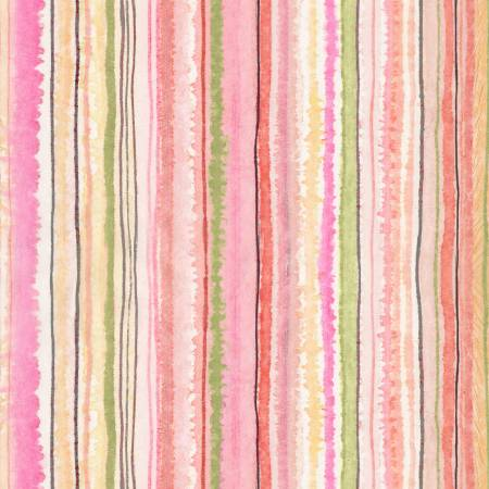 {Pre-Order July} Timeless Treasures Floral Study Multi Stripe Digitally Printed