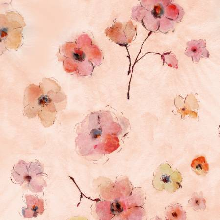 {Pre-Order July} Timeless Treasures Floral Study Pink Floral Digitally Printed