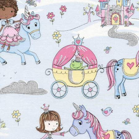 Timeless Treasures Princess & Unicorns Blue with Glitter